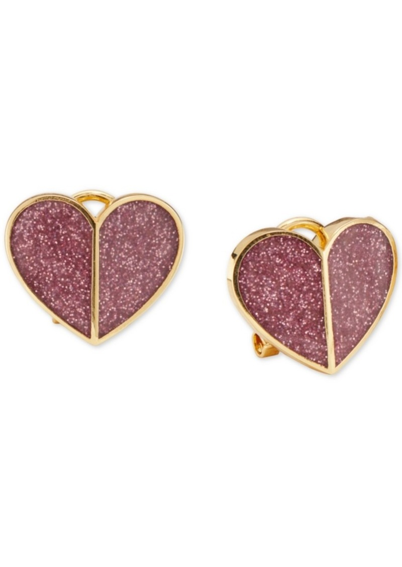 Kate Spade New York Glitter Heart Button Earrings