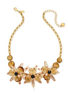 kate spade new york Gold-Tone Crystal Flower Collar Necklace