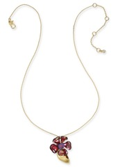 "Kate Spade New York Gold-Tone Crystal Flower Pendant Necklace, 16"" + 1"" extender"