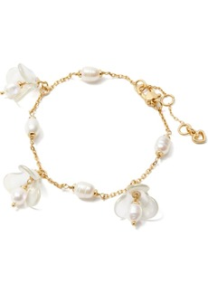 Kate Spade New York Gold-Tone Freshwater Pearl (5x7mm) Flower Charm Bracelet