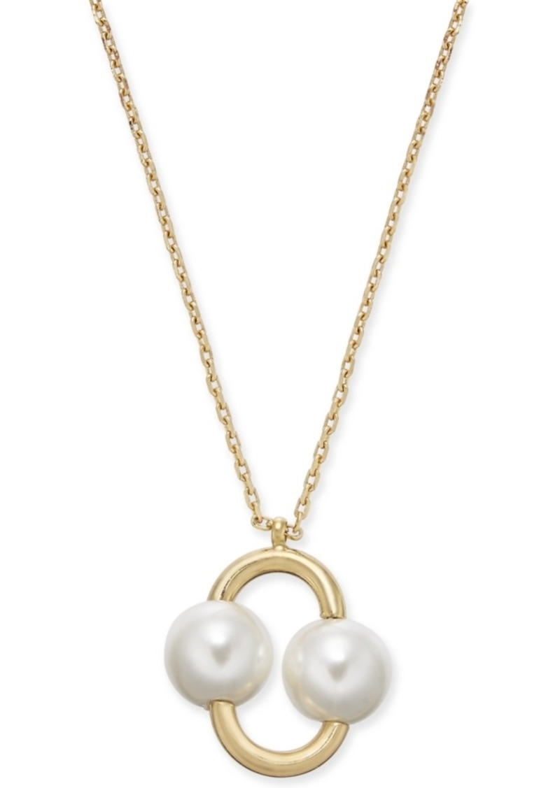 "Kate Spade New York Gold-Tone Imitation Pearl Link Pendant Necklace, 16"" + 3"" extender"