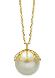"""Kate Spade New York Gold-Tone Imitation Pearl Pendant Necklace, 24"""" + 3"""" extender"""
