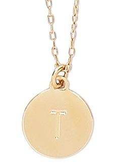 """Kate Spade New York Gold-Tone Initial Disc Pendant Necklace, 17"""" + 3"""" extender"""