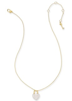"Kate Spade New York Gold-Tone Mini Heart Lock Pendant Necklace, 17"" + 3"" Extender"