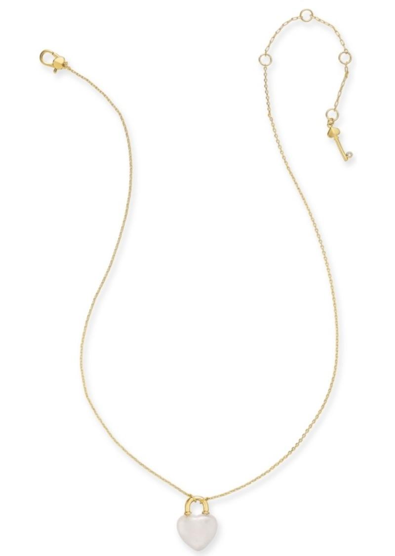 "Kate Spade New York Gold-Tone Mini Heart Lock Pendant Necklace, 17"" + 3"" Extender"