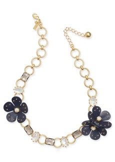 """Kate Spade New York Gold-Tone Multi-Stone & Imitation Pearl Leather Flower Collar Necklace, 16"""" + 2"""" extender"""