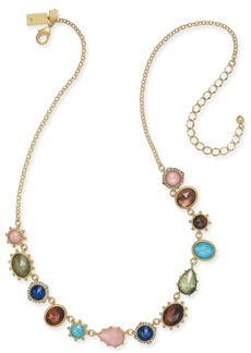 "kate spade new york Gold-Tone Multi-Stone Statement Necklace, 17"" + 3"" extender"