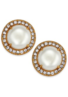 Kate Spade New York Gold-Tone Pave & Imitation Pearl Button Earrings