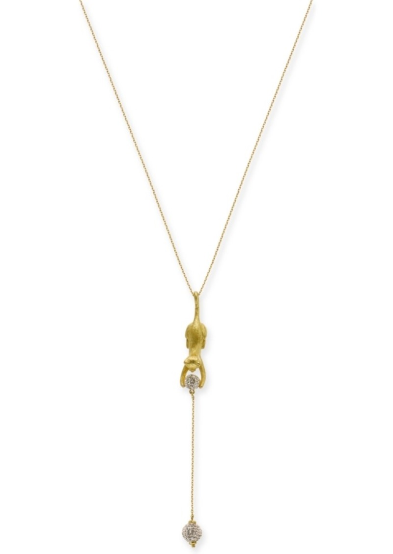 "Kate Spade New York Gold-Tone Pave Ball & Leopard 17"" Lariat Necklace"