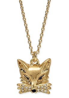 "kate spade new york Gold-Tone Pave Fox Pendant Necklace, 16"" + 3"" extender"