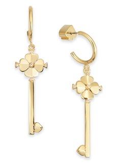 Kate Spade New York Gold-Tone Pave Key Drop Hoop Earrings