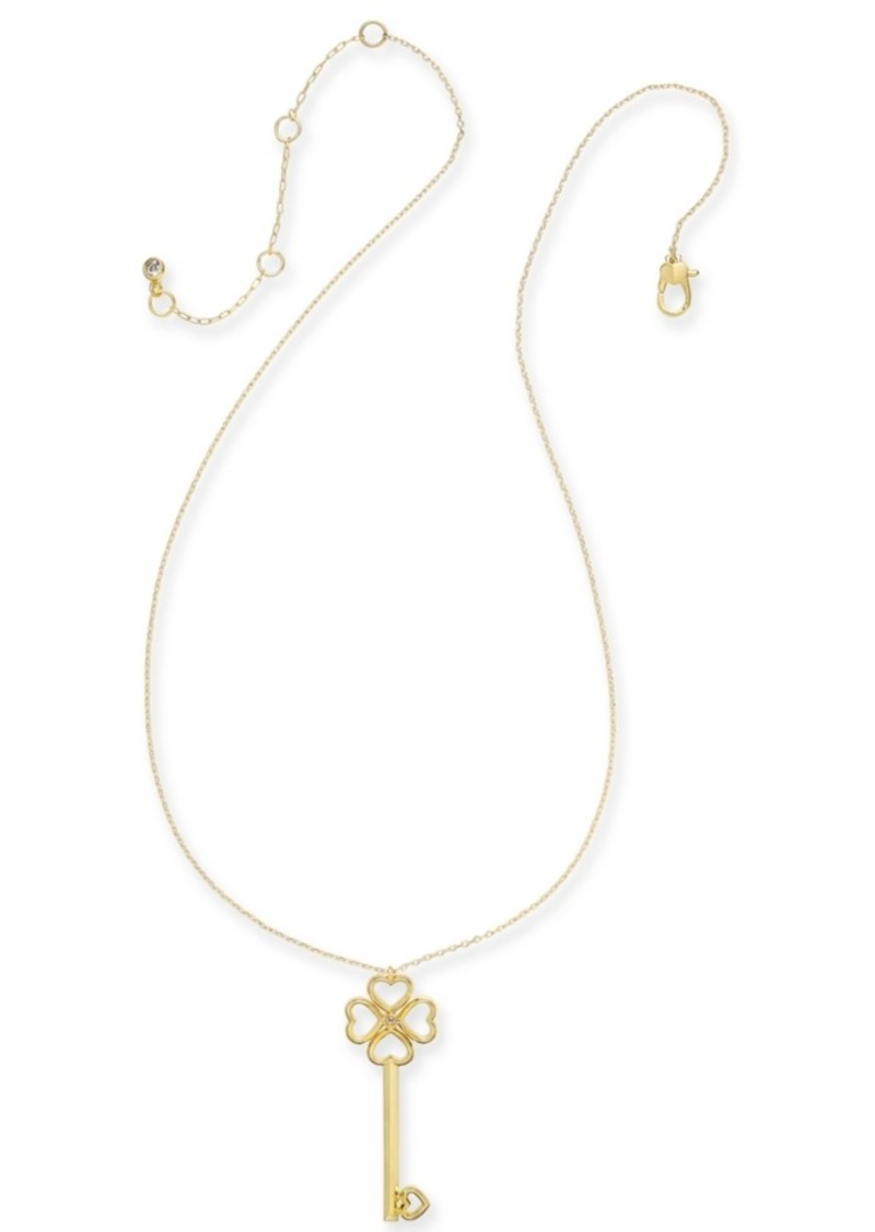 "Kate Spade New York Gold-Tone Pave Key Pendant Necklace, 18"" + 3"" extender"