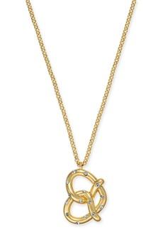 "kate spade new york Gold-Tone Pave Pretzel Pendant Necklace, 15"" + 3"" extender"
