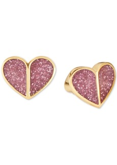 Kate Spade New York Gold-Tone Pink Glitter Heart Stud Earrings
