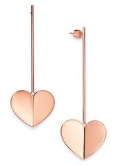 Kate Spade New York Gold-Tone, Rose-Gold Tone or Silver-Tone Heart Linear Drop Earrings