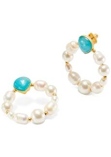 Kate Spade New York Gold-Tone Semi-Precious Stone & Imitation Pearl Door Knocker Earrings