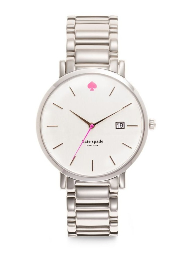 Kate Spade New York Gramercy Grand Mother Of Pearl Stainless Steel Bracelet Watch