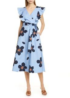 kate spade new york grand flora poplin midi dress
