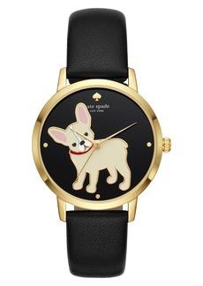 kate spade new york grand metro bulldog leather strap watch, 38mm