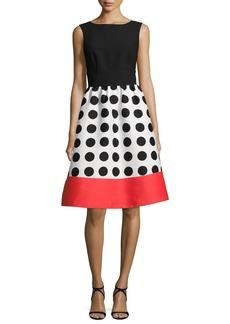 kate spade new york grid dot colorblock sleeveless midi dress