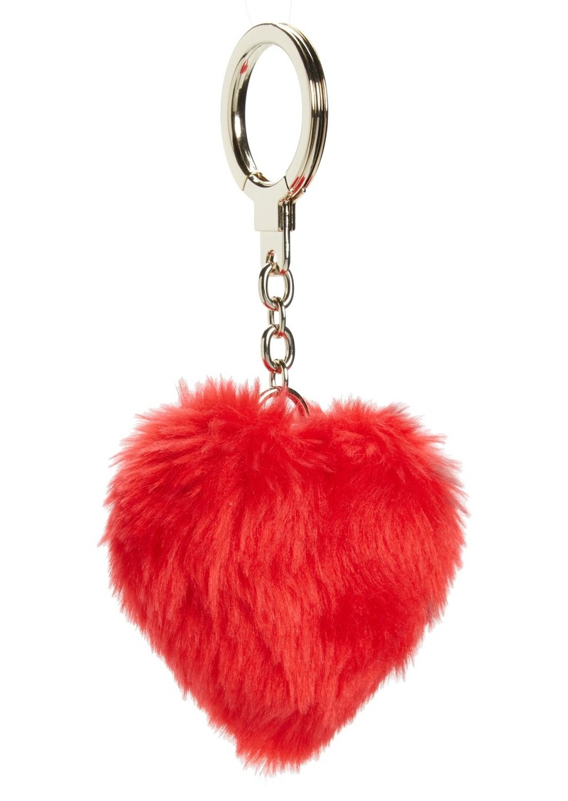 kate spade new york heart pouf faux fur bag charm