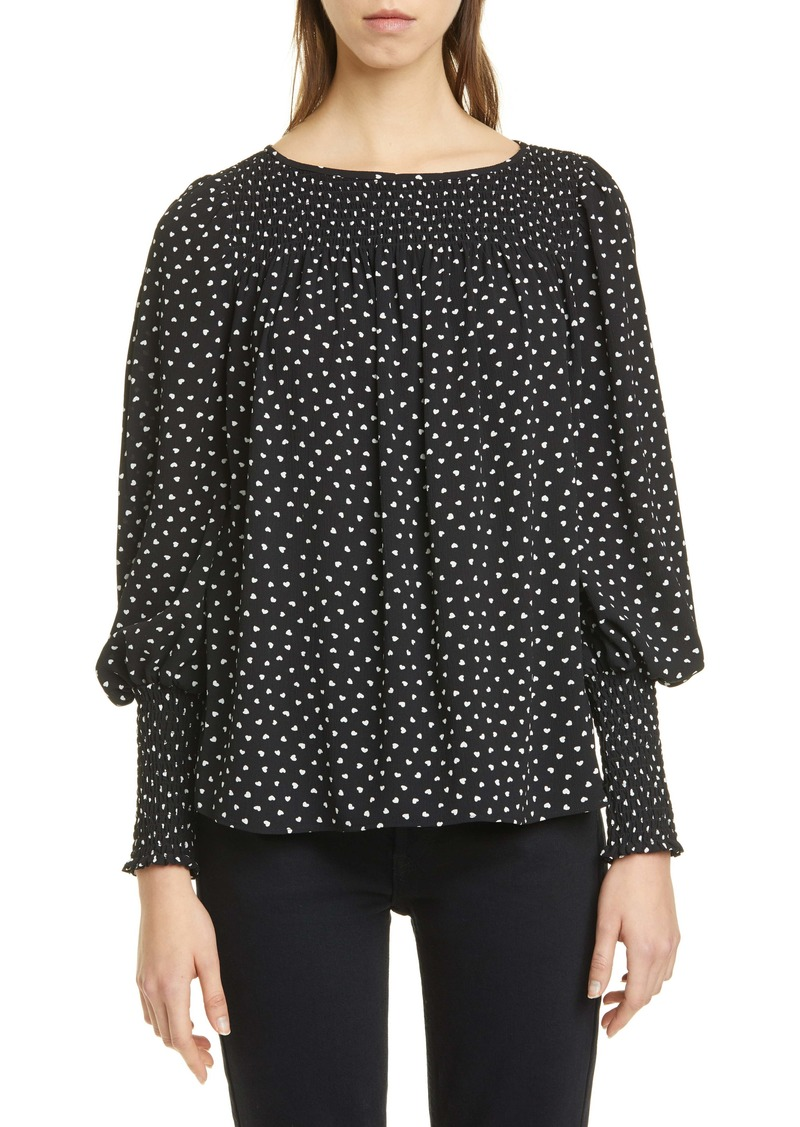kate spade new york heartbeat smock yoke long sleeve blouse