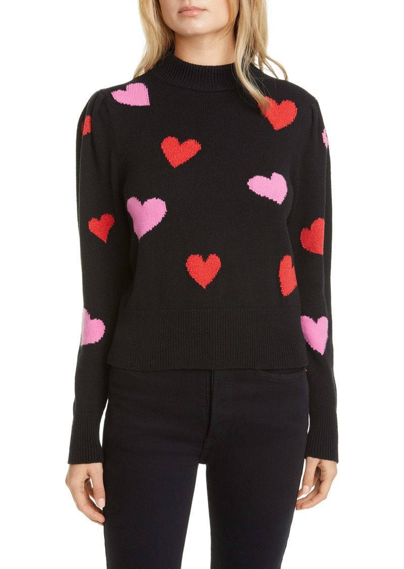 kate spade new york hearts mock neck sweater