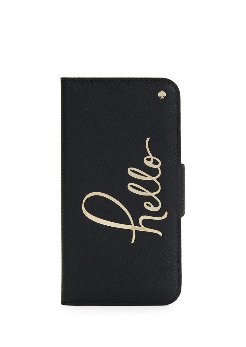 KATE SPADE NEW YORK Hello Print Leather iPhone 7 Case