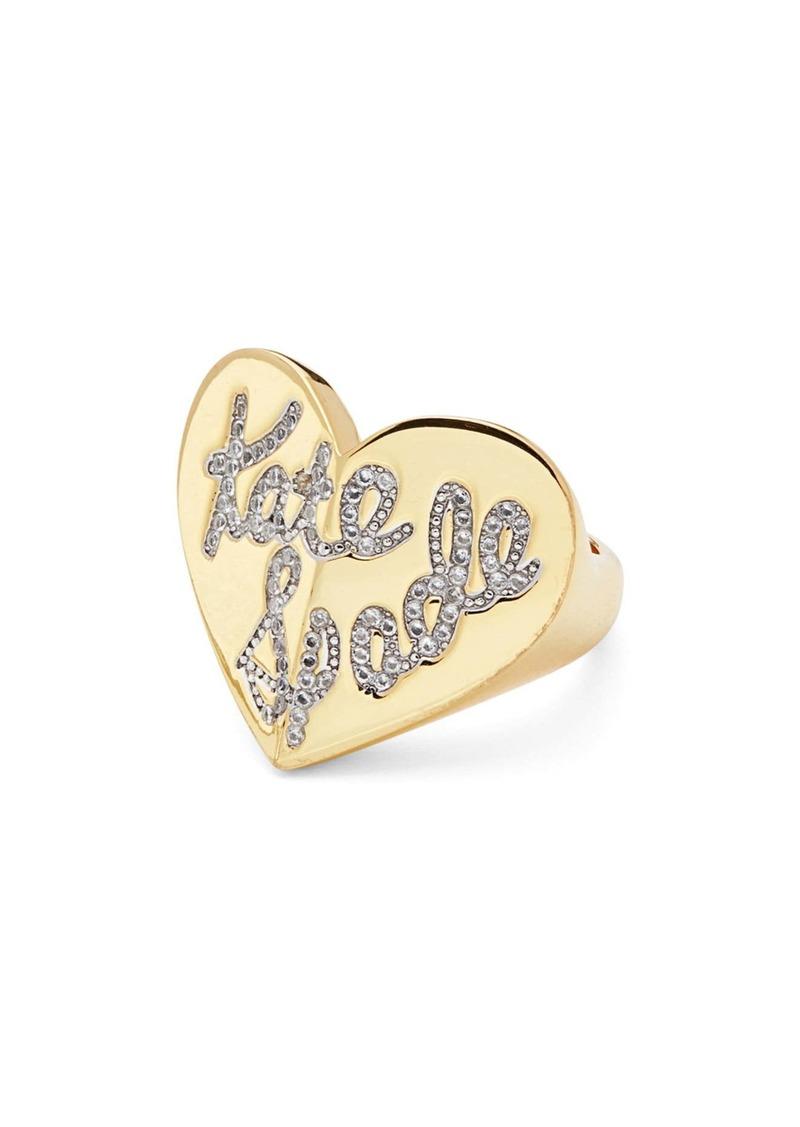 kate spade new york heritage spade pavé script heart ring