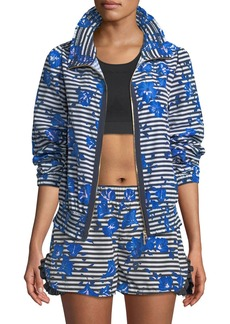 kate spade new york hibiscus-print striped zip-front active jacket