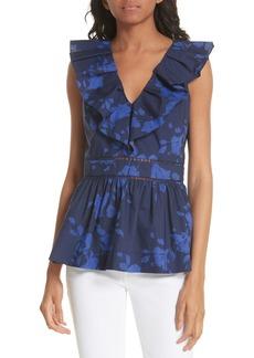 kate spade new york hibiscus ruffle neck cotton blouse