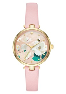 kate spade new york holland leather strap watch, 34mm
