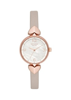 Kate Spade New York Hollis 3-Hand Rose-Goldtone & Matte Grey Leather Strap Watch