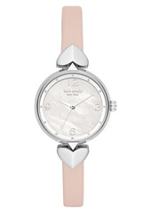 kate spade new york hollis leather strap watch, 30mm