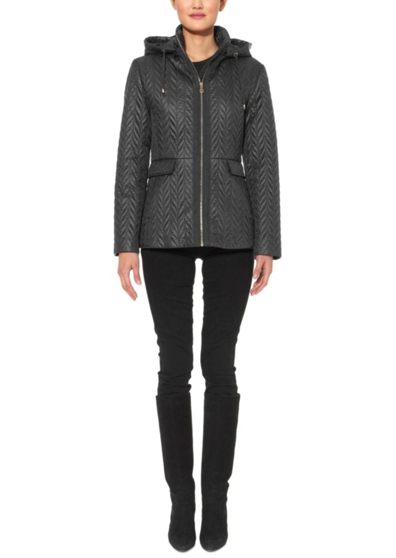 Kate Spade New York Hooded Chevron Quilted Jacket
