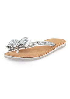 kate spade new york icarda glitter bow flat thong sandal