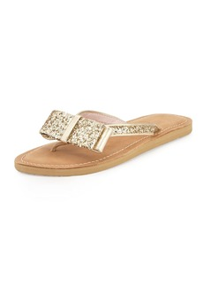 kate spade new york icarda glitter bow flat thong sandal