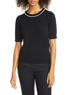 kate spade new york imitation pearl and crystal pavé detail sweater