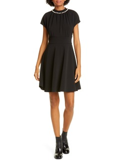 kate spade new york imitation pearl and pavé crepe fit & flare minidress
