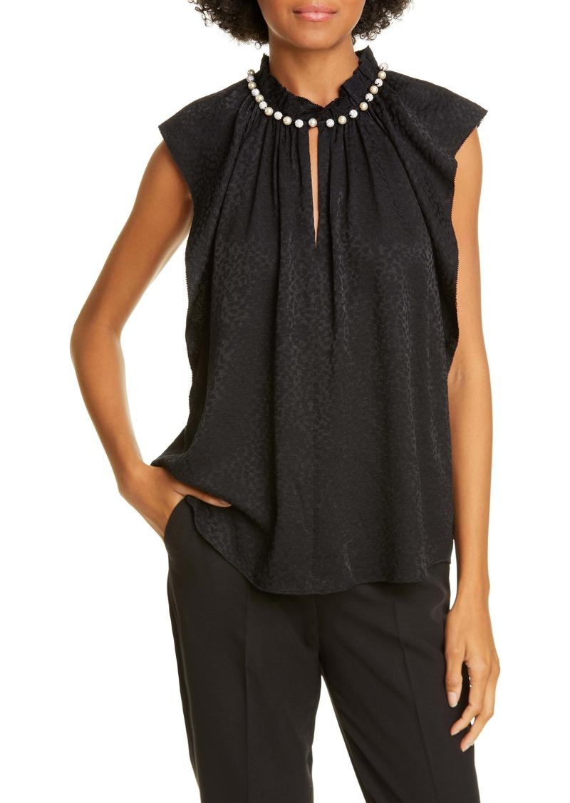 kate spade new york imitation pearl detail sleeveless blouse