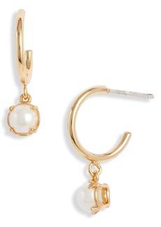 kate spade new york imitation pearl huggie hoop earrings