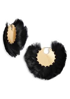 kate spade new york in full feather hoop earrings