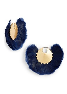 kate spade new york in full feather hoop earrings