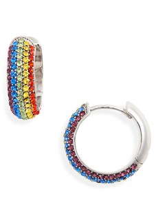 kate spade new york into the sky pavé huggie hoop earrings