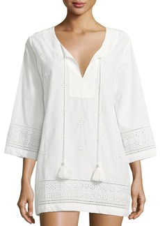 kate spade new york isal vista v-neck embroidered eyelet coverup tunic