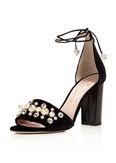 kate spade new york Iverna Embellished Velvet Lace Up High Heel Sandals