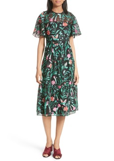 kate spade new york jardin embroidered lace midi dress
