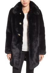 kate spade new york jewel button faux fur jacket