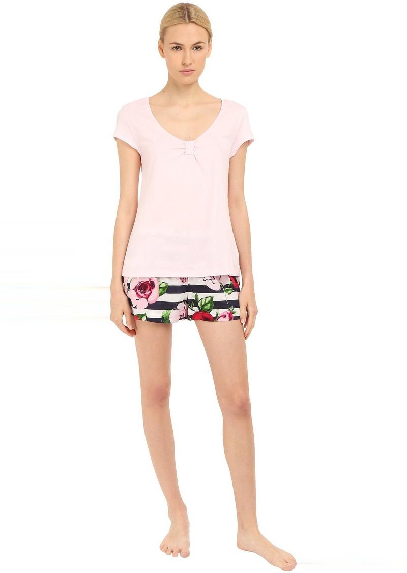 Kate Spade New York Knit Top w/ Woven Bottom Shorts PJ