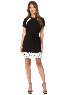 Kate Spade New York Lace Trim Satin Crepe Dress